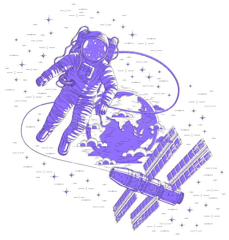 Spaceman flying open space connected to space station and earth planet in background, astronaut man or woman in spacesuit floating royalty free illustration
