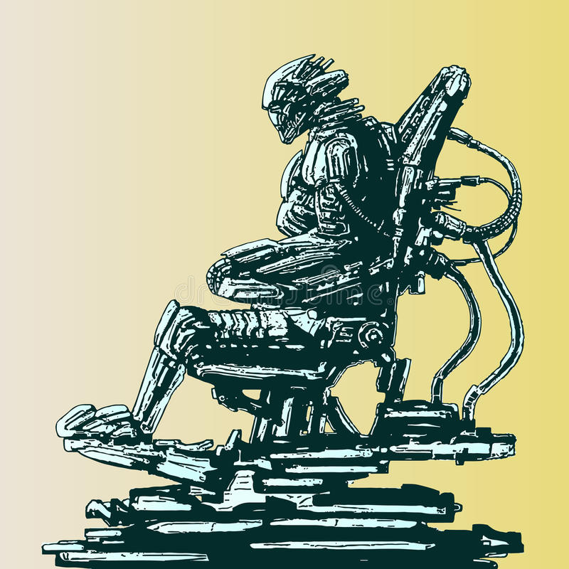 Spaceman invader sits in suit on his iron throne. Vector illustration. Spaceman invader sits in suit on his iron throne. Science fiction original character stock illustration