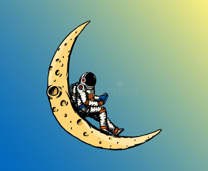 Spaceman on the moon. Astronaut is reading a book. Astronomical galaxy space. Funny cosmonaut explore adventure stock illustration