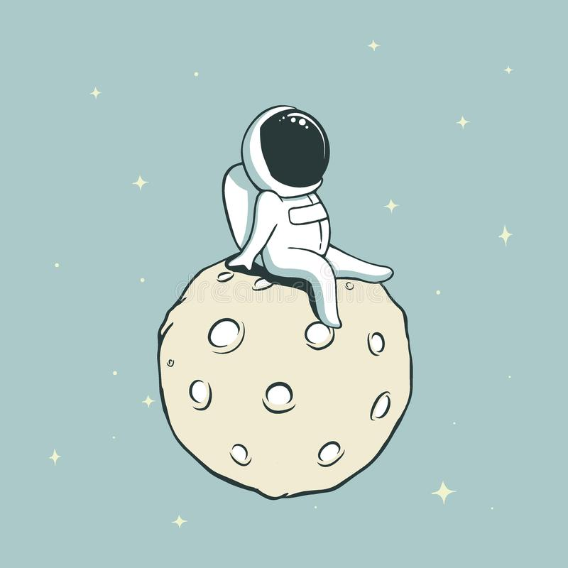 Spaceman on Moon royalty free illustration