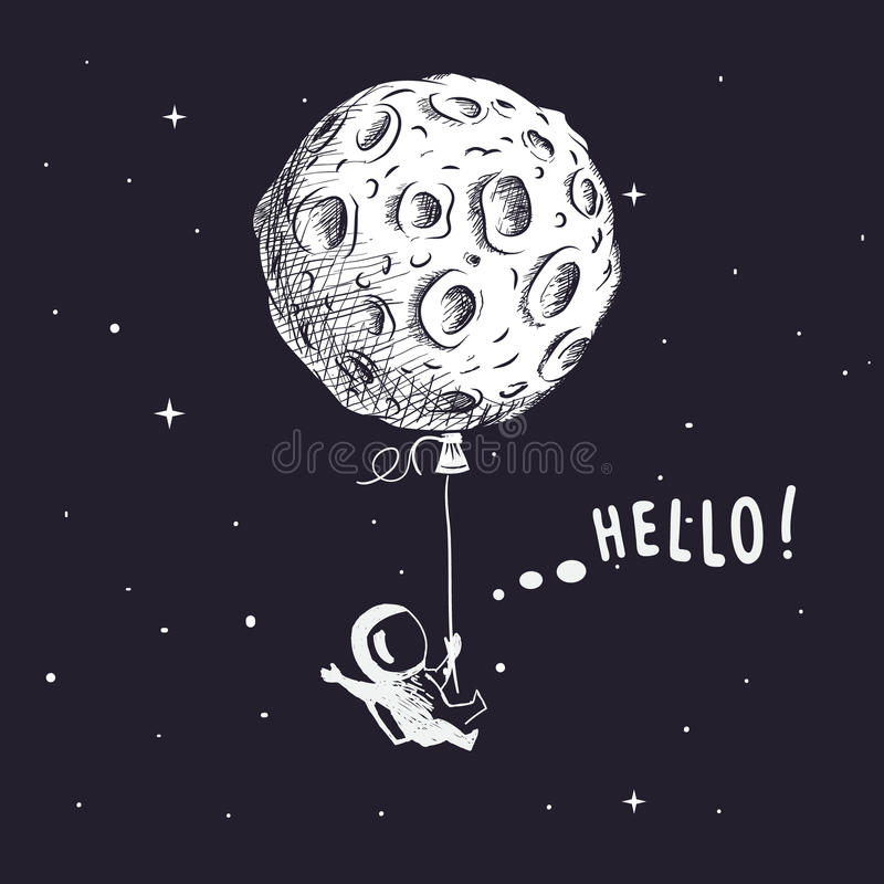Spaceman with moon like a balloon royalty free illustration