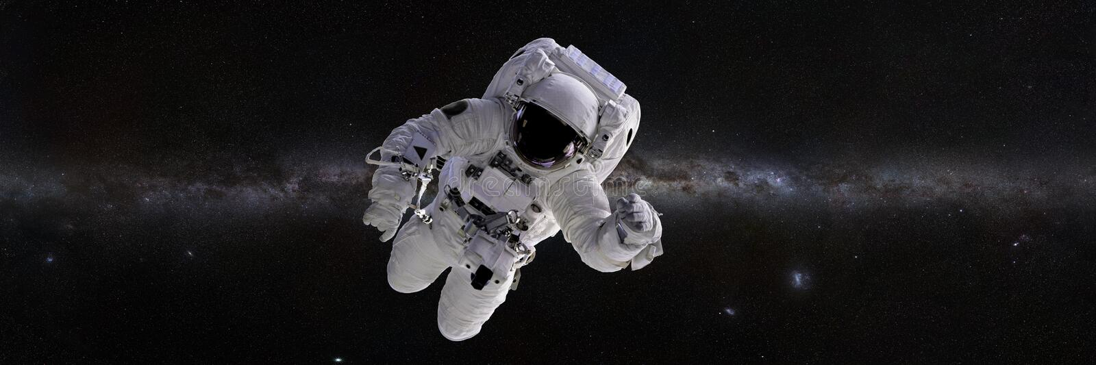 Astronaut in front of the Milky Way galaxy 3d illustration banner, elements of this image are furnished by NASA. Spaceman in outer space, panorama banner space royalty free illustration