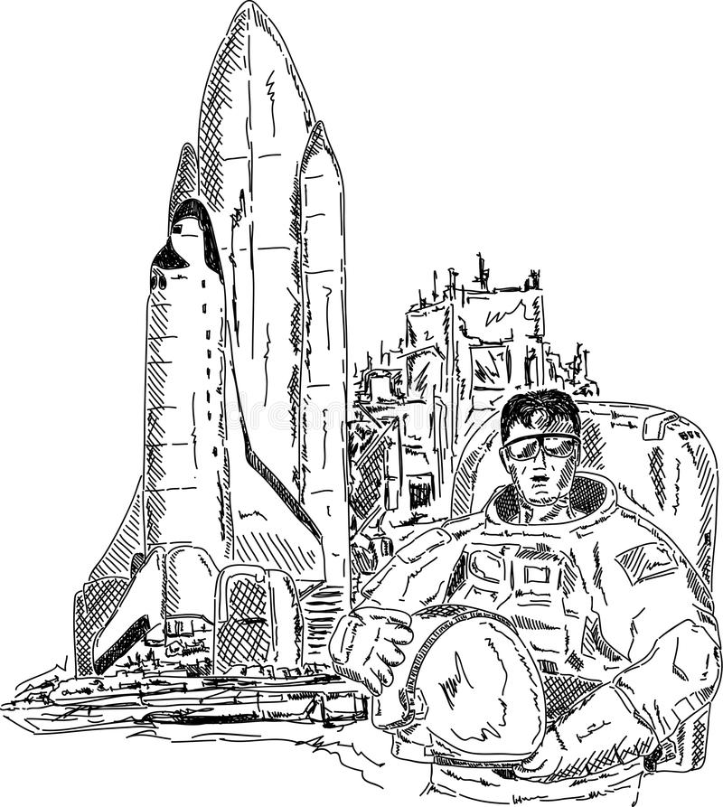 Spaceman shuttle royalty free illustration