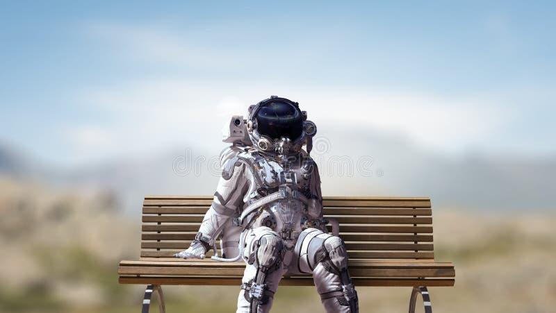 Rocketman on bench. Mixed media royalty free stock images