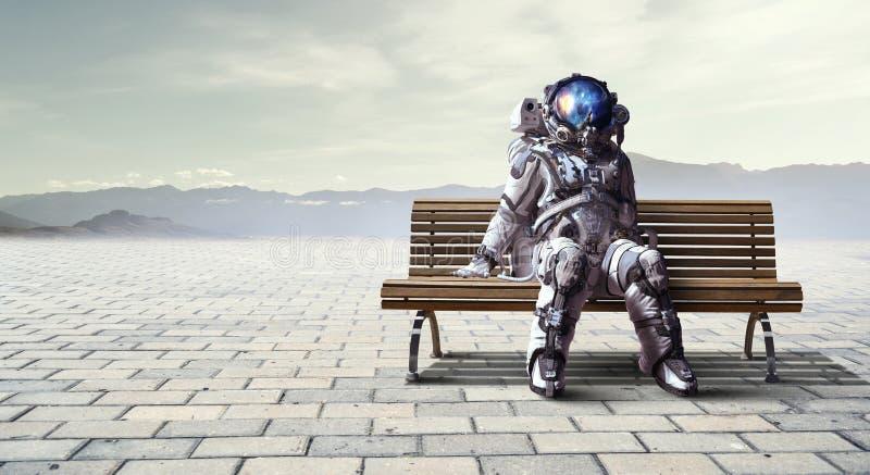 Rocketman on bench. Mixed media stock illustration