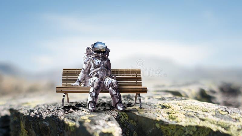 Rocketman on bench. Mixed media stock photo