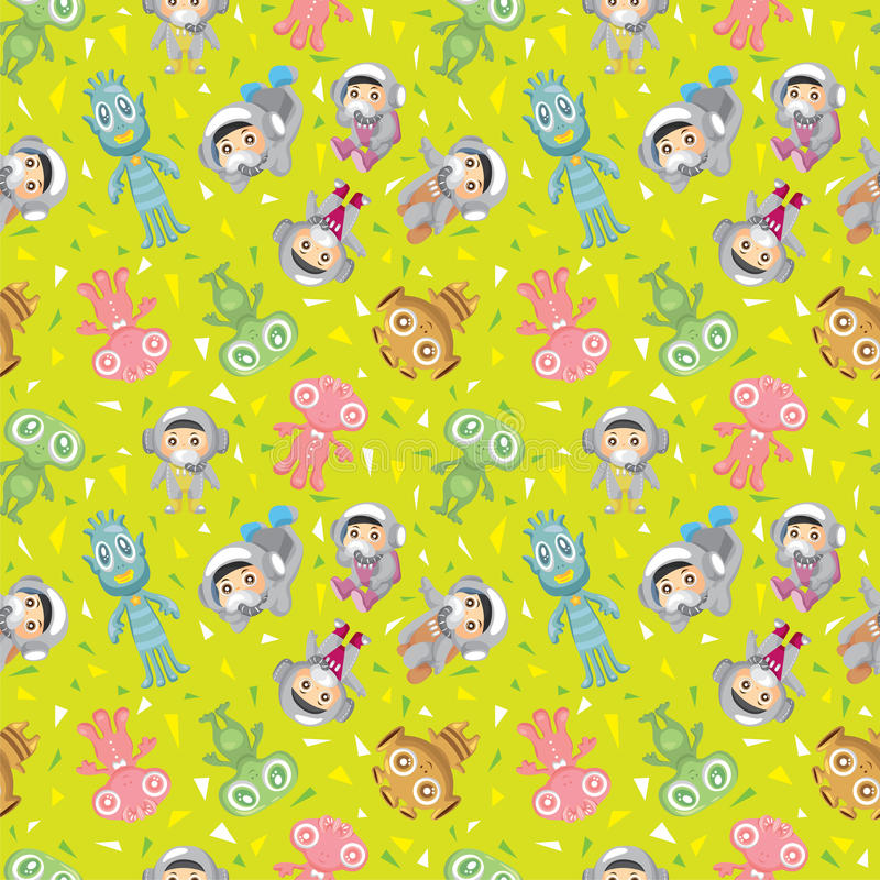 Spaceman and ufo seamless pattern stock illustration