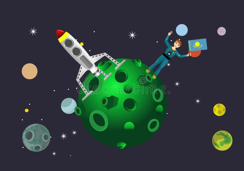 Spacemen with kazakhstan flag on planet, space concept. Vector illustration royalty free illustration