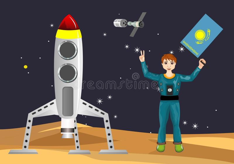 Spacemen with kazakhstan flag, spaceship on moon ground, space concept. Vector illustration vector illustration