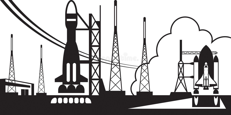Spaceport με τους πυραύλους αναχώρησης ελεύθερη απεικόνιση δικαιώματος