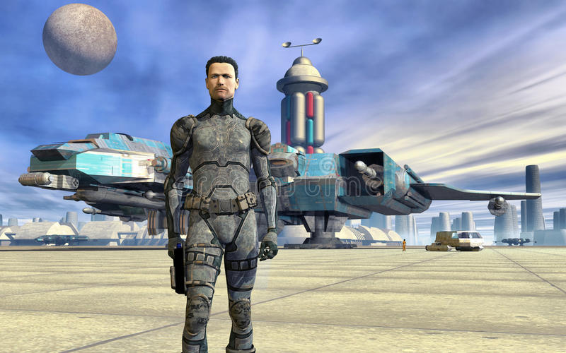 Spaceport And Space Pilot Stock Image