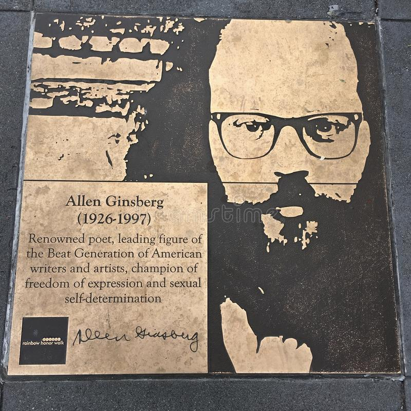 Spacer homoseksualista tęcza honoru spacer, Allen Ginsberg zdjęcie stock