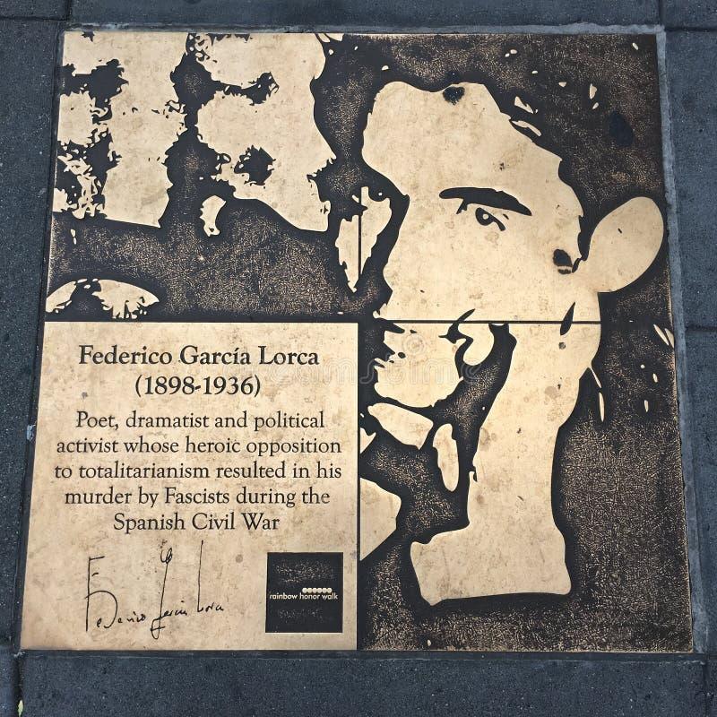Spacer homoseksualista tęcza honoru spacer, Federico Garcia Lorca zdjęcia stock