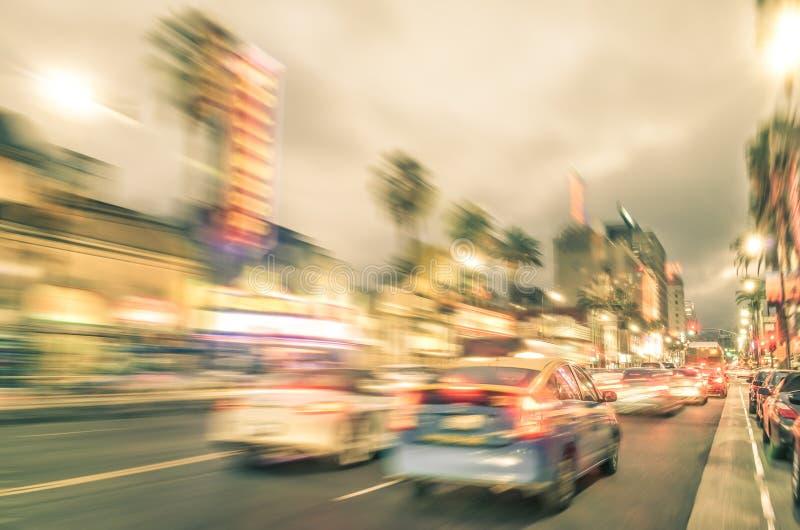 Spacer sława o Los Angeles, Hollywood bulwar - zanim zmierzch - zdjęcie stock