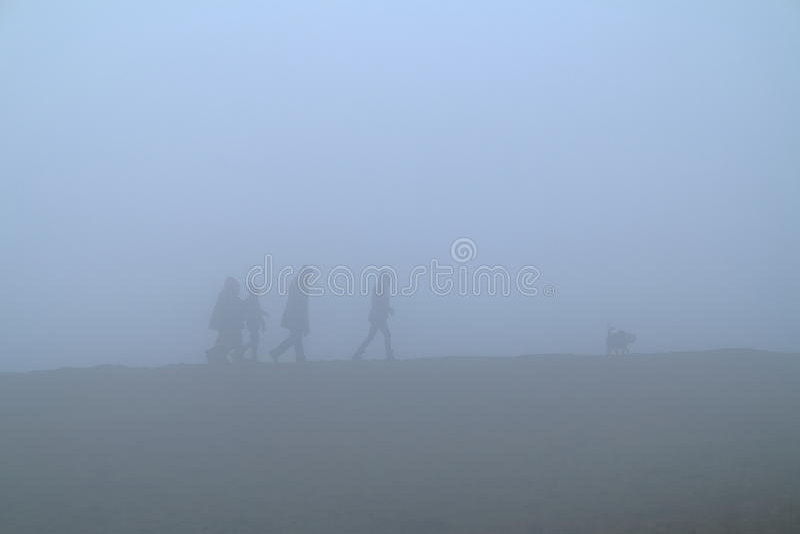 Spacer w gęstej mgle fotografia royalty free