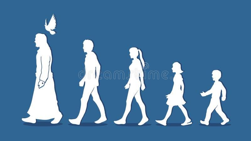 Spacer z Jezus, Podąża Jezus royalty ilustracja