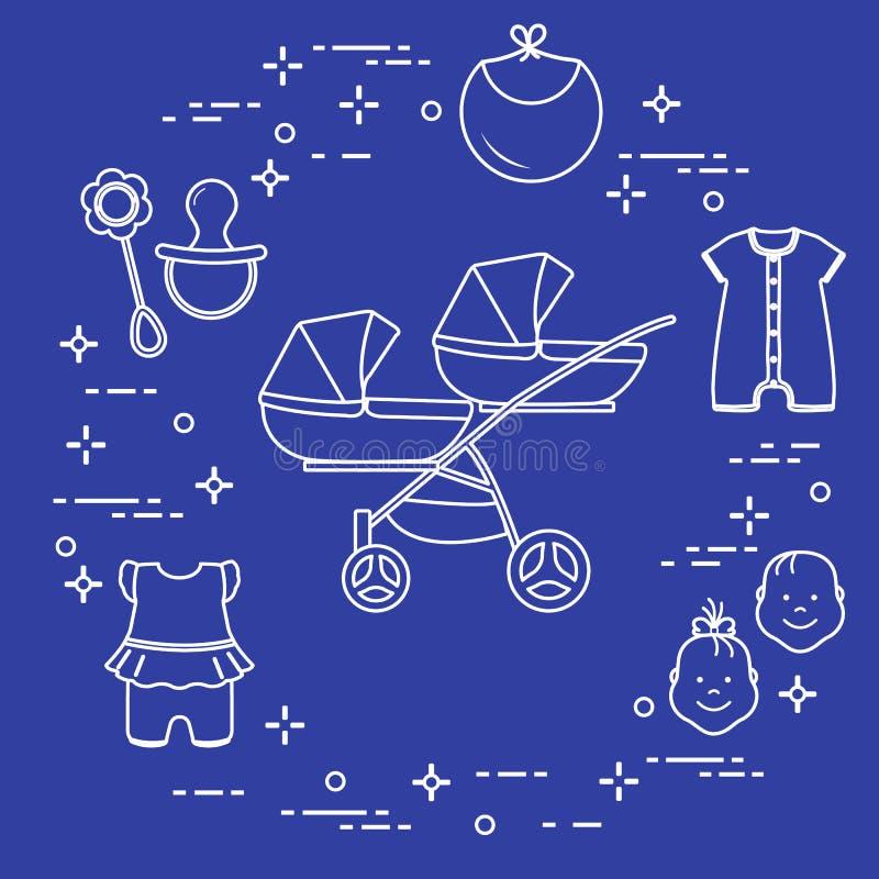 Spacerowicz, bliźniacy, brzęk, pacyfikator, śliniaczek, kombinezony ilustracji