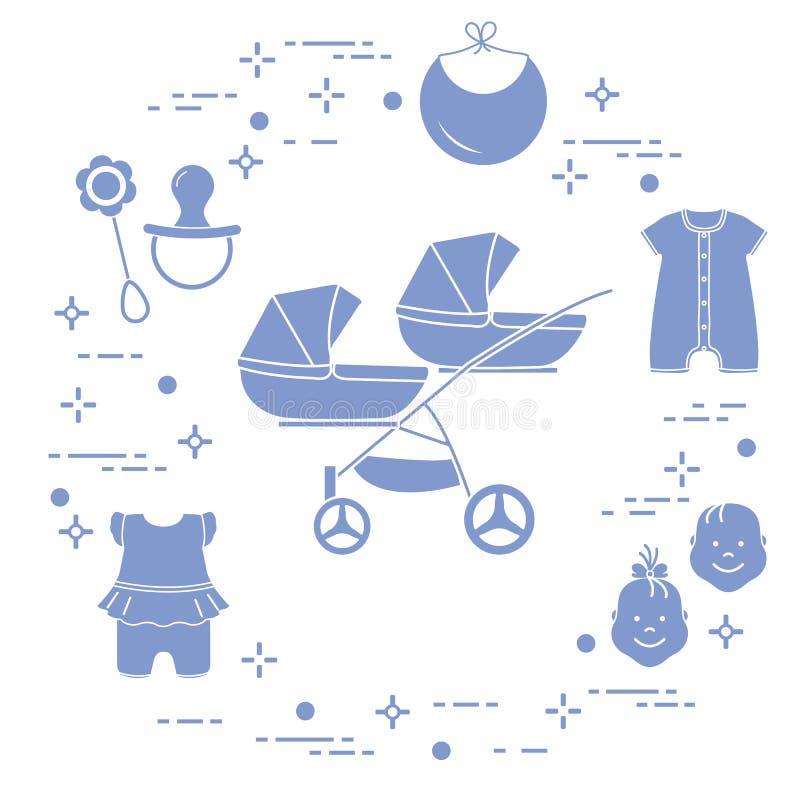 Spacerowicz, bliźniacy, brzęk, pacyfikator, śliniaczek, kombinezony ilustracja wektor