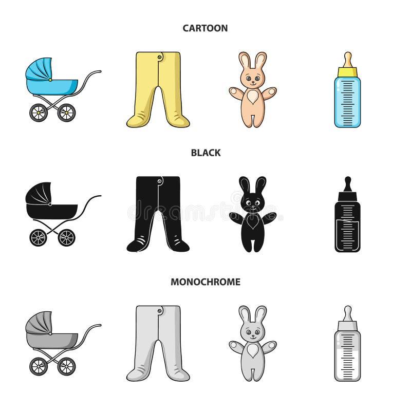 Spacerowicz, butelka z pacyfikatorem, zabawka, suwaki Dziecko urodzone ustalone inkasowe ikony w kreskówce, czerń, monochromu sty royalty ilustracja