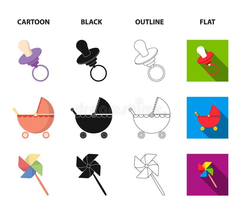 Spacerowicz, wiatraczek, lego, szybko się zwiększać Zabawki ustawiać inkasowe ikony w kreskówce, czerń, kontur, mieszkanie symbol ilustracja wektor