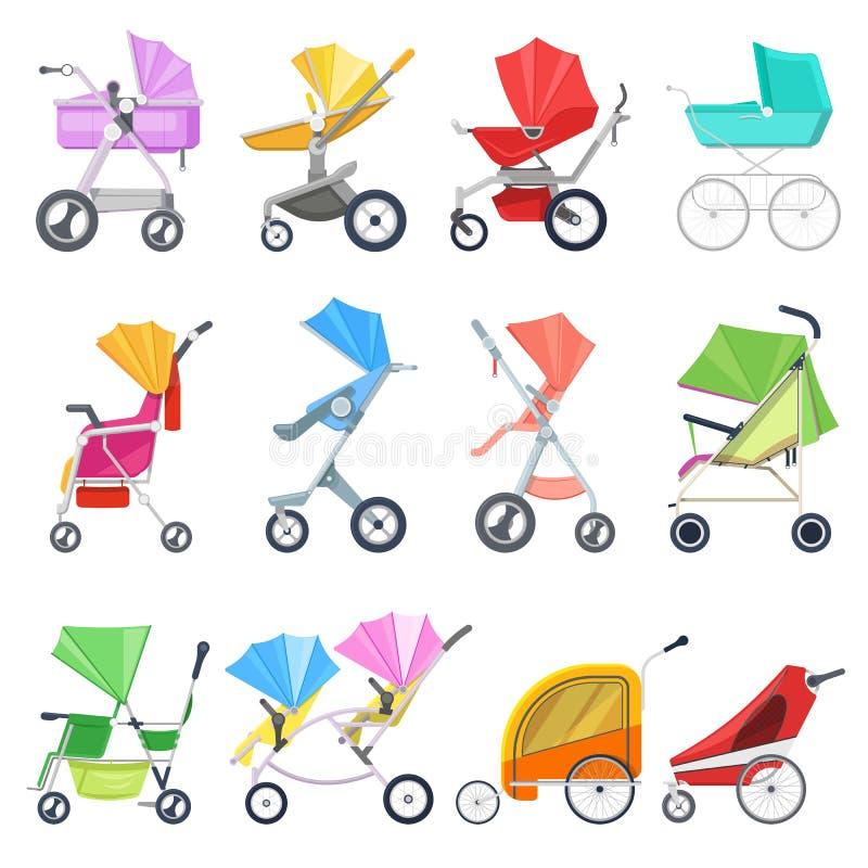 Spacerowicza wektorowy dziecięcy powozik, wózek spacerowy lub pram dla kareciany ilustracyjnego ustawiającego powozik dzieci lub  royalty ilustracja