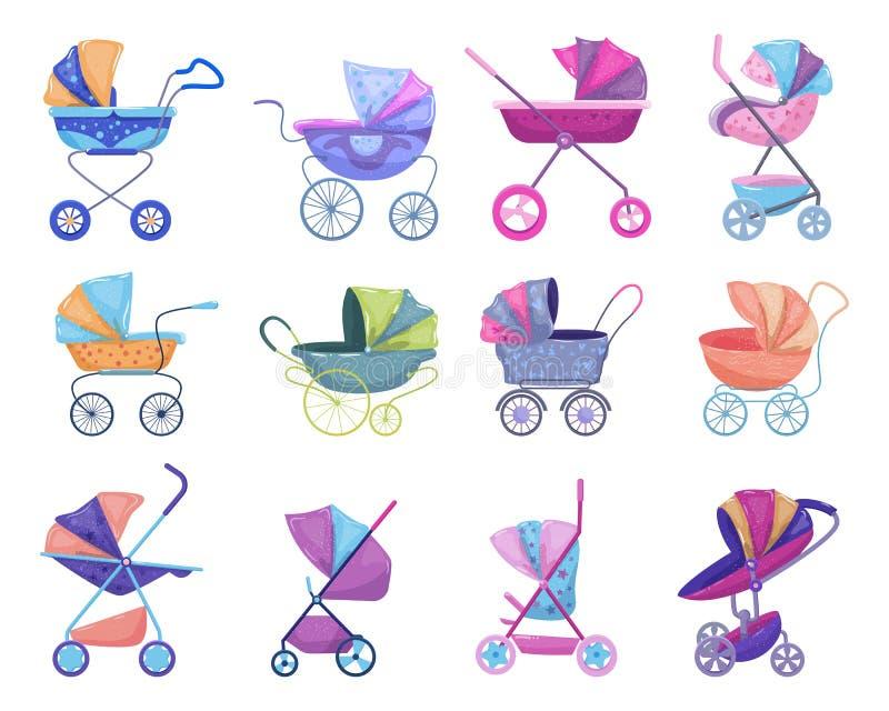 Spacerowicza wektorowy wózek spacerowy i dziecięcy powozik z pram dla kareciany ilustracyjnego ustawiającego powozik dzieci lub d royalty ilustracja