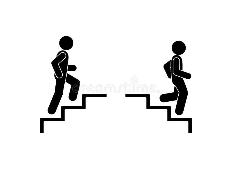 Spaceru m??czyzna w schodkach Mężczyzny odprowadzenie w górę kroków wtyka postać piktogram ilustracji