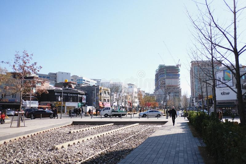 Spaceru sposób w hongdae Korea fotografia royalty free