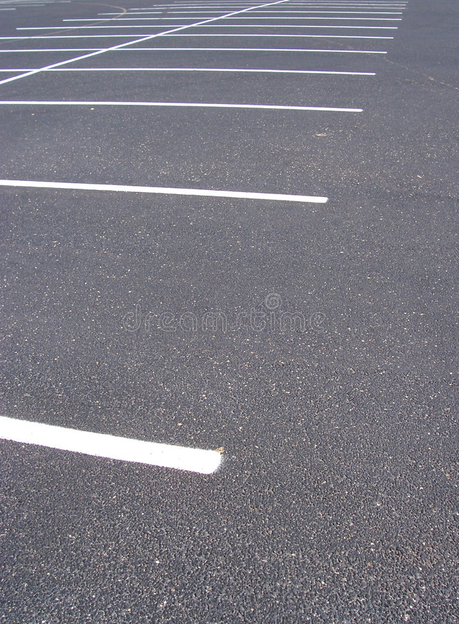 Spaces in Parking Lot stock photo