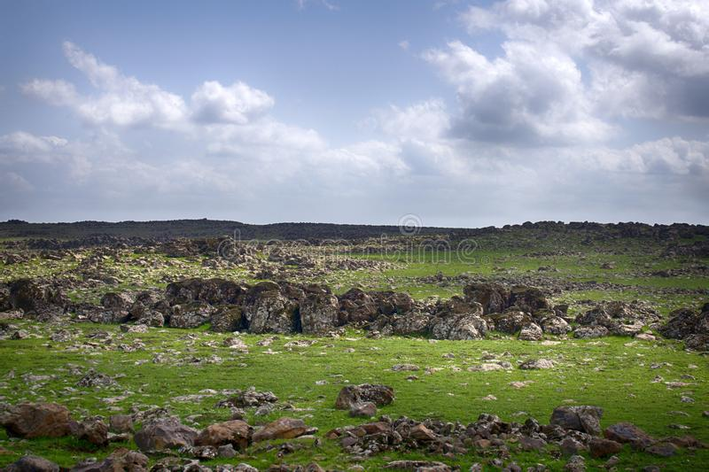 Spaces with poor rocky soil. Near the city of Sanliurfa Turkey stock photo