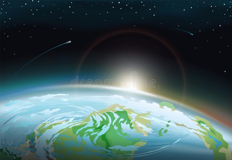Spacescape with Earth and bright Sun on Horizon stock illustration