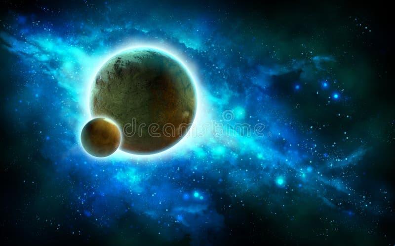 Spacescape med planeter och nebulosan royaltyfri illustrationer