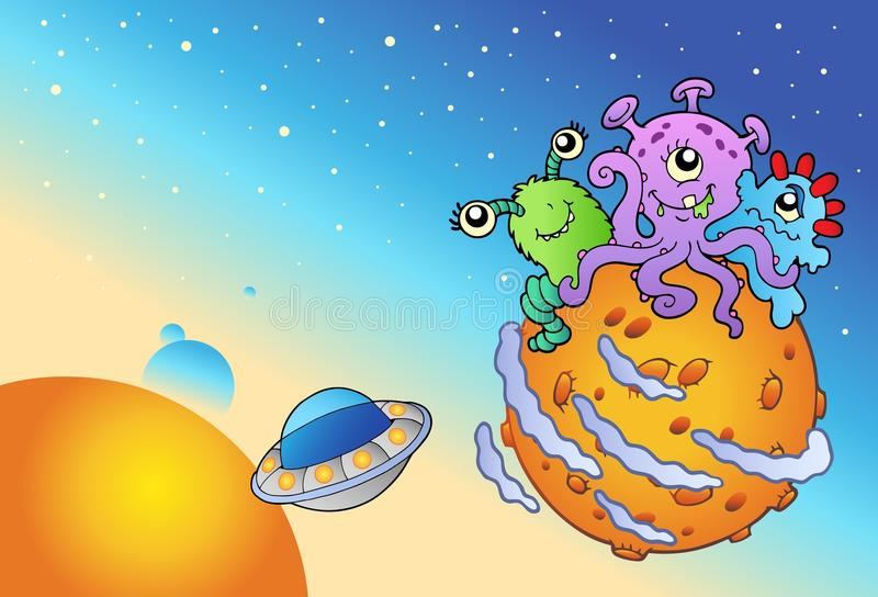 Spacescape with three cute aliens. Illustration stock illustration