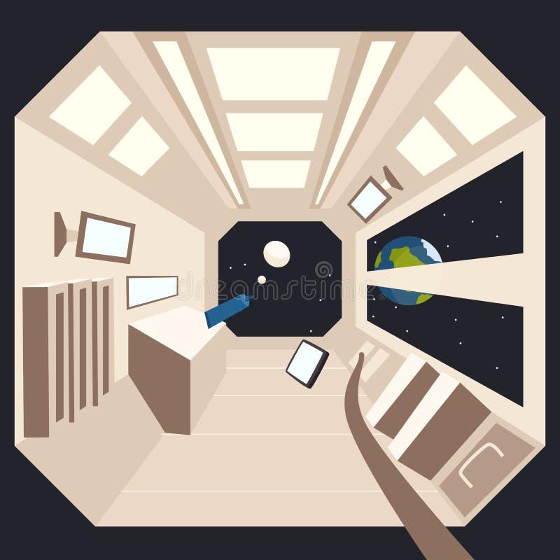 Spaceship στο διάστημα δυσαρεστημένη απεικόνιση κινούμενων σχεδίων αγοριών λίγο διάνυσμα διανυσματική απεικόνιση