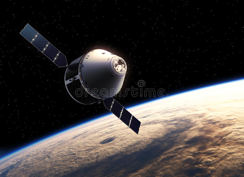 Spaceship στο διάστημα ελεύθερη απεικόνιση δικαιώματος