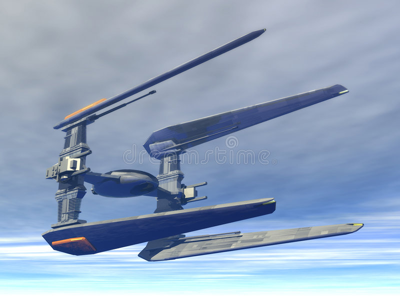 Spaceship. A space fighter in 3d royalty free illustration