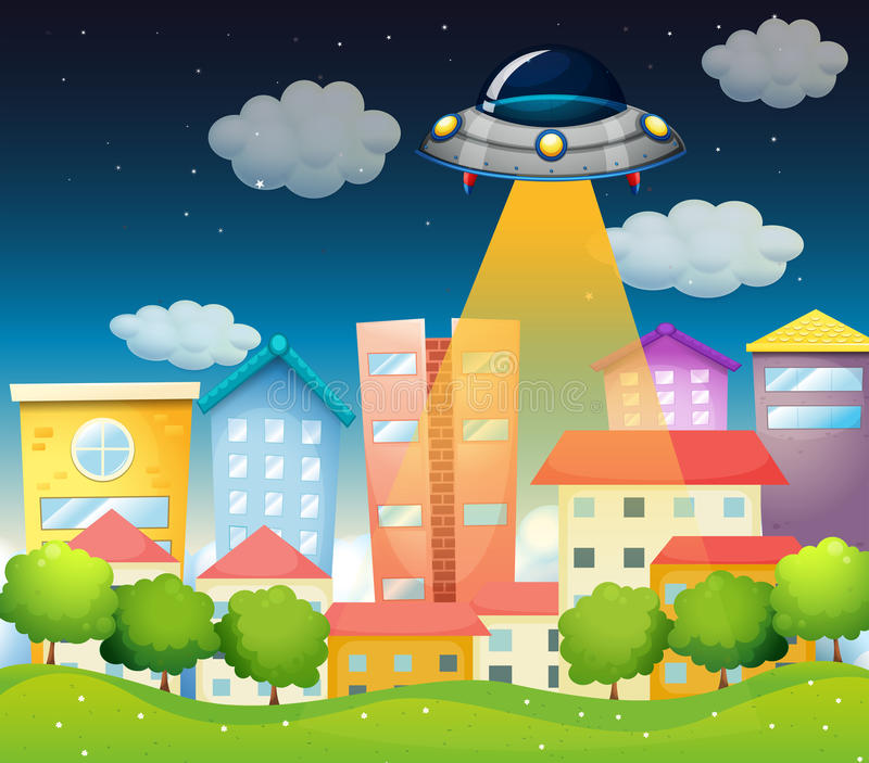 Download A Spaceship Above The Buildings Stock Vector - Image: 31791861