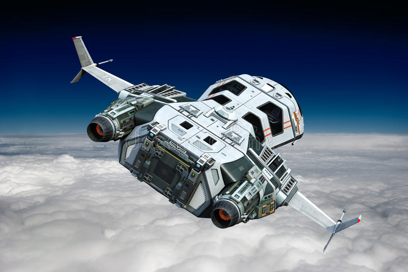 Spaceship above the clouds backside view vector illustration