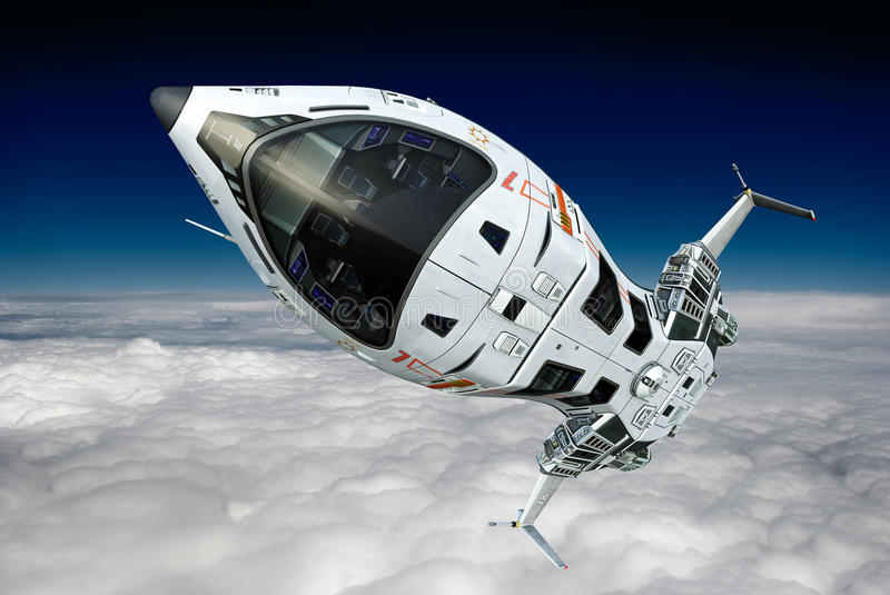 Spaceship above the clouds going to space stock illustration