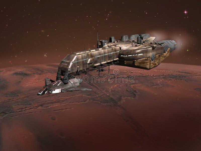 Spaceship above Mars royalty free illustration