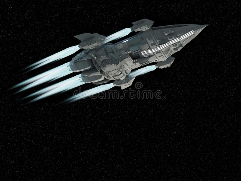 Spaceship aircraft for science fiction 3d rendering of alien spa vector illustration