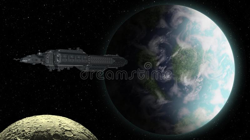 Spaceship approaching an Earthly planet royalty free illustration