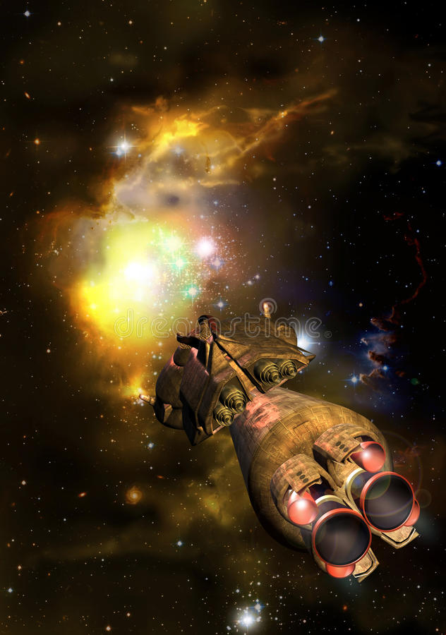 Spaceship approaching a nebula. A spaceship approaches a nebula into deep space stock illustration