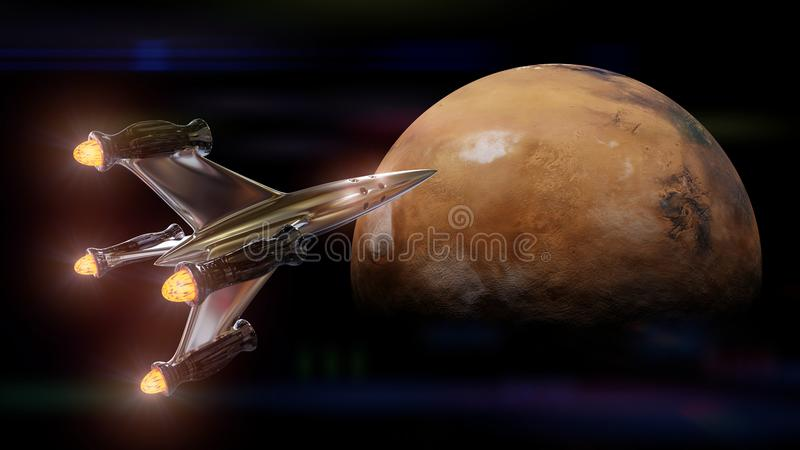 Spaceship approaching the red planet Mars 3d illustration, elements of this image are furnished by NASA. Mission to the neighbour planet Mars, rocket from Earth stock illustration