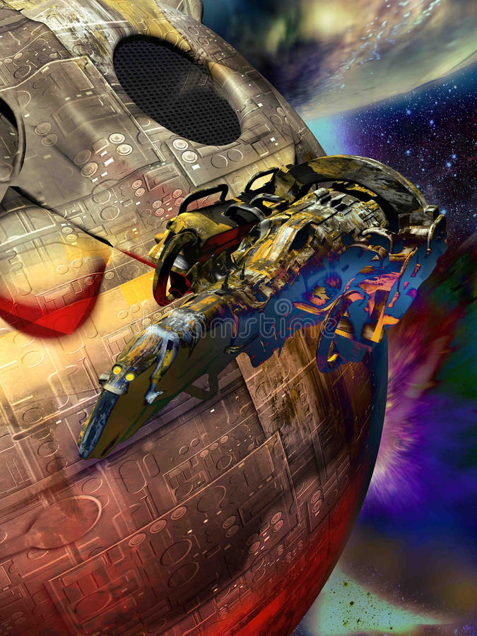 Spaceship and artificial satellite royalty free illustration
