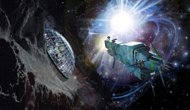 Spaceship and asteroid vector illustration