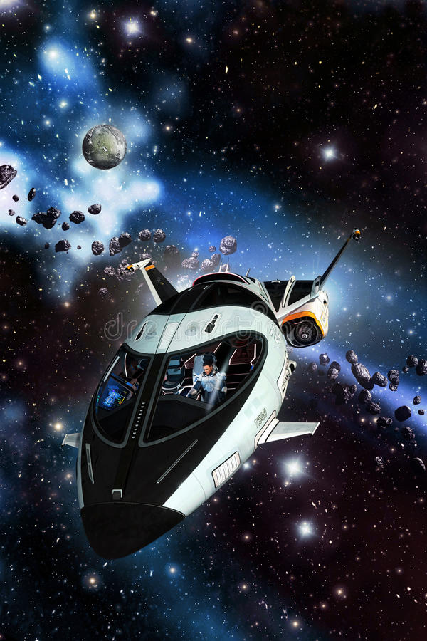 Spaceship and asteroid field stock illustration