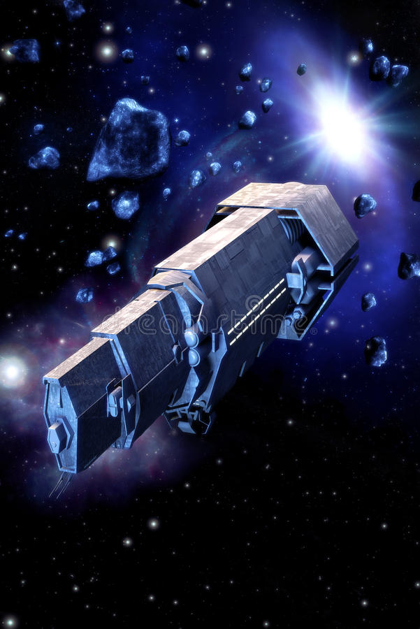 Spaceship and asteroids stock illustration