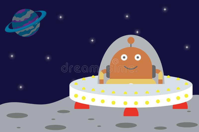 Spaceship and Astronaut UFO on planet,funny and cute background stock illustration