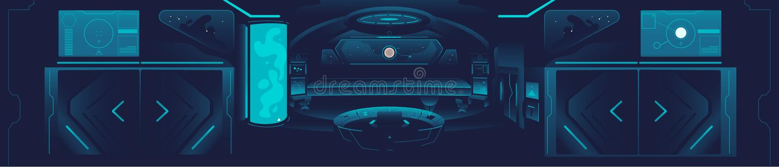 Spaceship banner - dark blue interor of space station with futuristic technology stock illustration